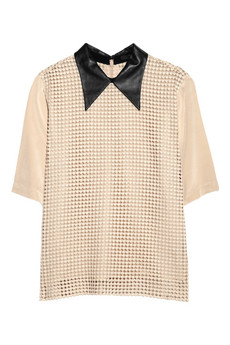 Tibi | Leather-collared crocheted-overlay silk-crepe shirt | NET-A-PORTER.COM