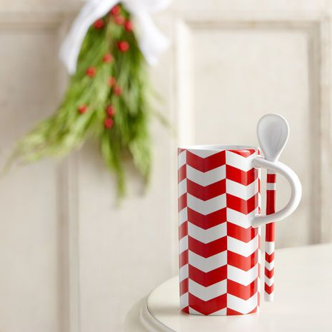 Starbucks Chevron Pattern Mug with Spoon   Home and Décor