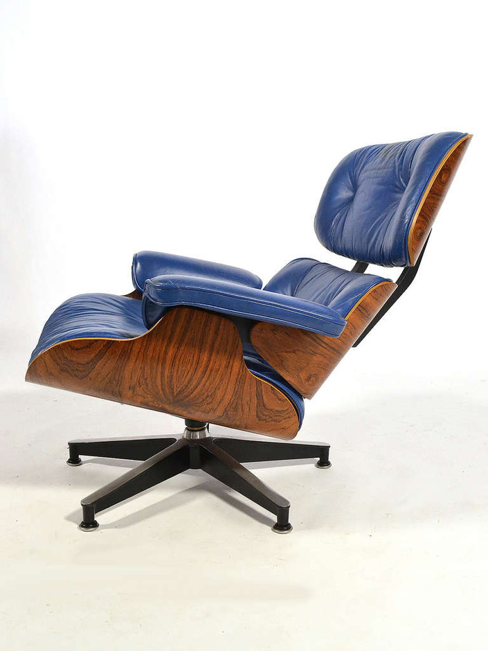 Rare Eames 670 Lounge Chair with Cobalt Blue Leather by Herman Miller at 1stdibs