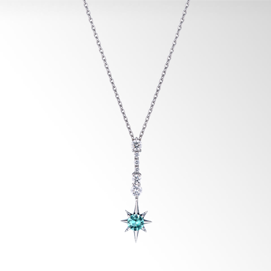STAR JEWELRY |CROSSING STAR PARAIBA TOURMALINE NECKLACE: ネックレス