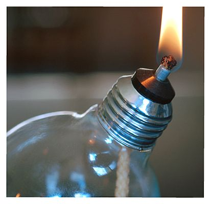 Recycled Light Bulb Oil Lamp Cube Base by RecycledLightCompany