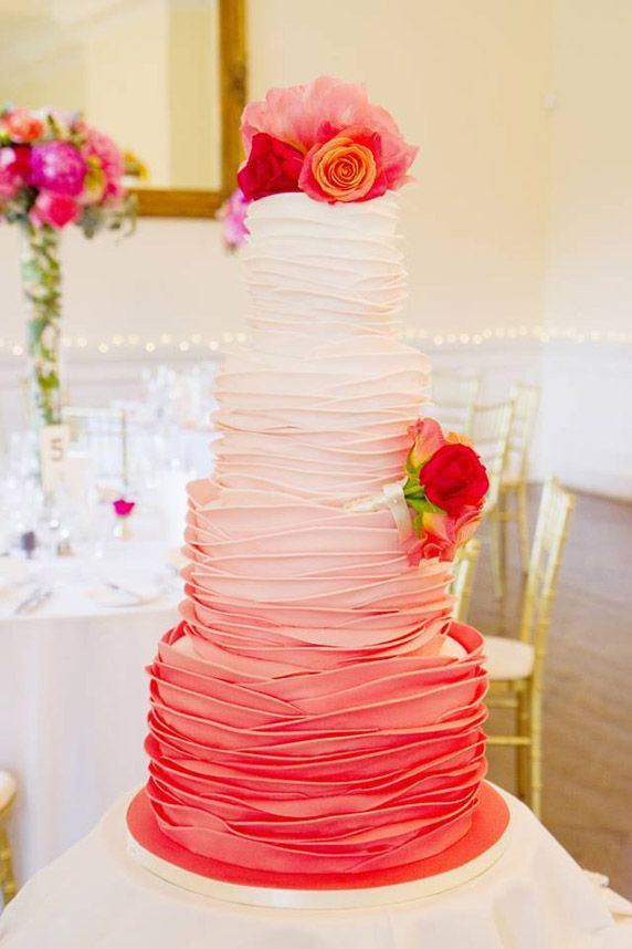 Elegant Cakes / Pretty Pink Ombre Layered Multi-Tiered Cake