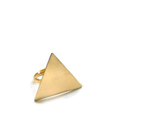 gold triangle ring adjustable band modern jewelry by theswanlake