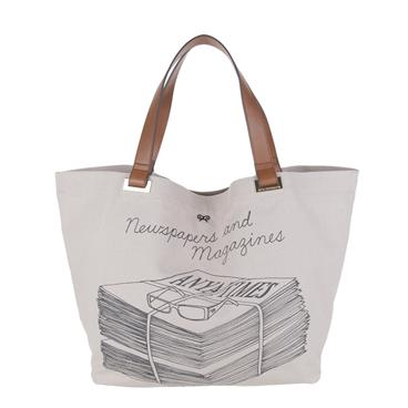 Light Grey Canvas Regular Newspaper and Magazines Totes Anya Hindmarch Handbags
