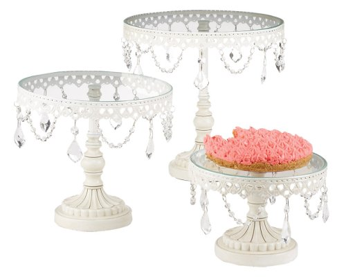 Amazon.com: Set of Three White Iron and Glass Cake Stands: Home & Garden