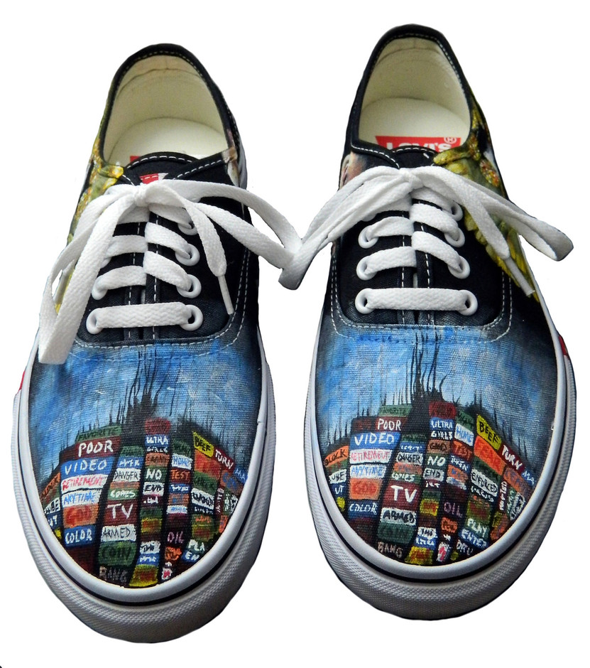 Radiohead Painted Sneakers by CatherineLaPointe on Etsy