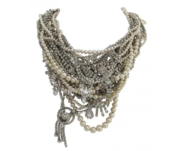 LARGE TANGLED CRYSTAL AND PEARL NECKLACE - Tom Binns