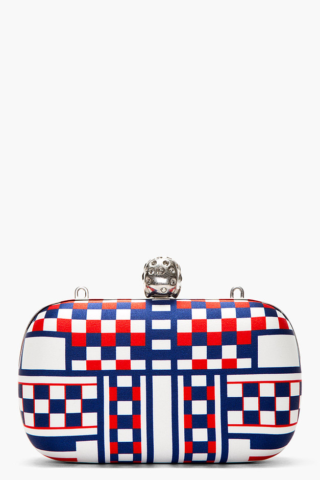 Alexander McQueen Red, White & Blue Check Print Skull Box Clutch for women | SSENSE