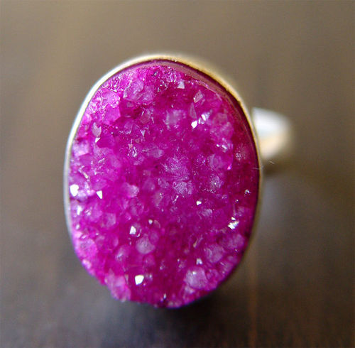 Fuchsia Silver Druzy Ring by friedasophie on Etsy on imgfave