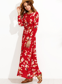 Red Floral Print Buttons Front Shirt Dress