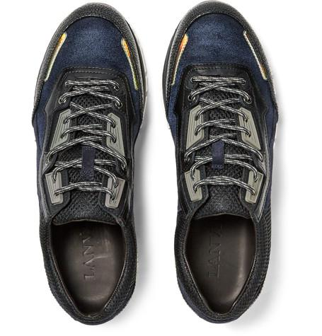Lanvin - Leather, Suede and Mesh Sneakers