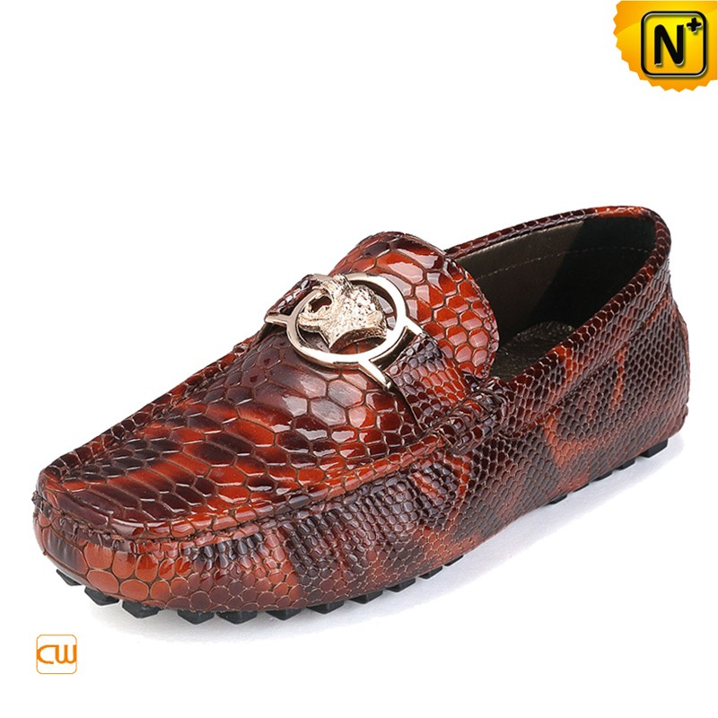 Mens Embossed Leather Driving Shoes Loafers CW715018