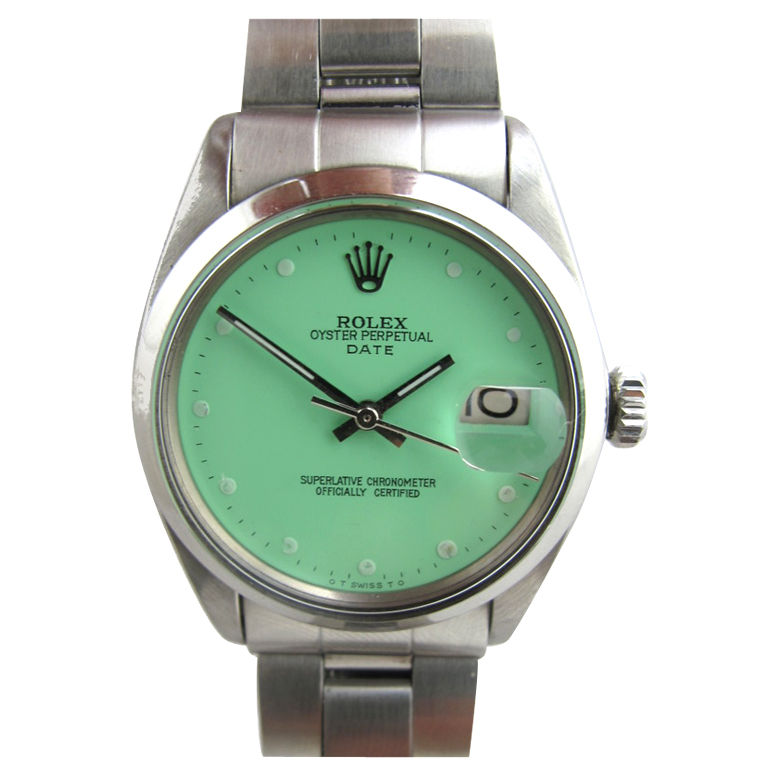 ROLEX Stainless Steel Oyster Date with Custom Mint Green Dial at 1stdibs