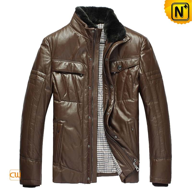 Mens Sheepskin Leather Down Jackets Mink Fur Collar | CWMALLS