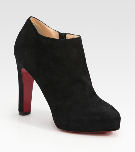 Christian Louboutin Vicky Suede Platform Ankle Boots in Purple | Lyst
