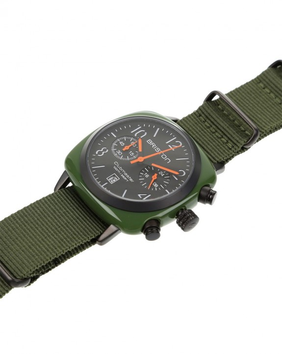 Watch ClubMaster Chronographe Date Military Green PVD Black Mat by Briston - Timefy