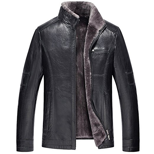 CWMALLS Men's Shearling Leather Jacket CW857032 at Amazon Men's Clothing store: