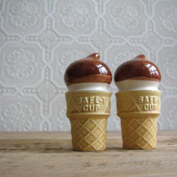 Vintage Ice Cream Salt and Pepper Shakers by junkytownvintage