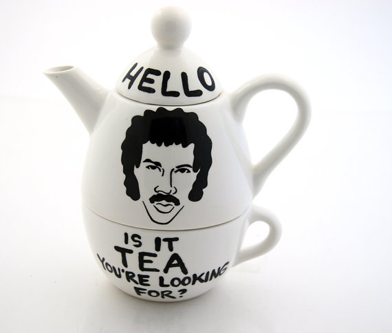 Hello Lionel Richie Ritchie Teapot Tea For One by LennyMud on Etsy