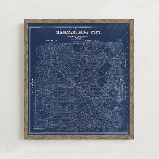 Framed Print - 1884 Map Of Dallas County   West Elm