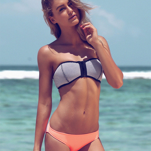 [grxjy561883]Sexy Strapless Contrast Color Neoprene Bikini Suit / pgfancy- fashion online shopping mall