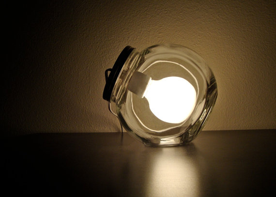 Modern Glass Jar Lamp with Frosted Light Bulb / by BLIndustries