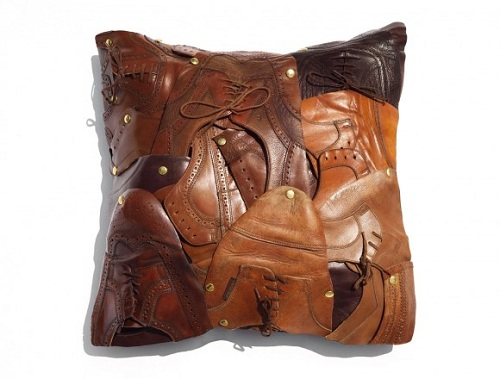 French Designer Creates A Pillow From Old Leather Shoes - DesignTAXI.com