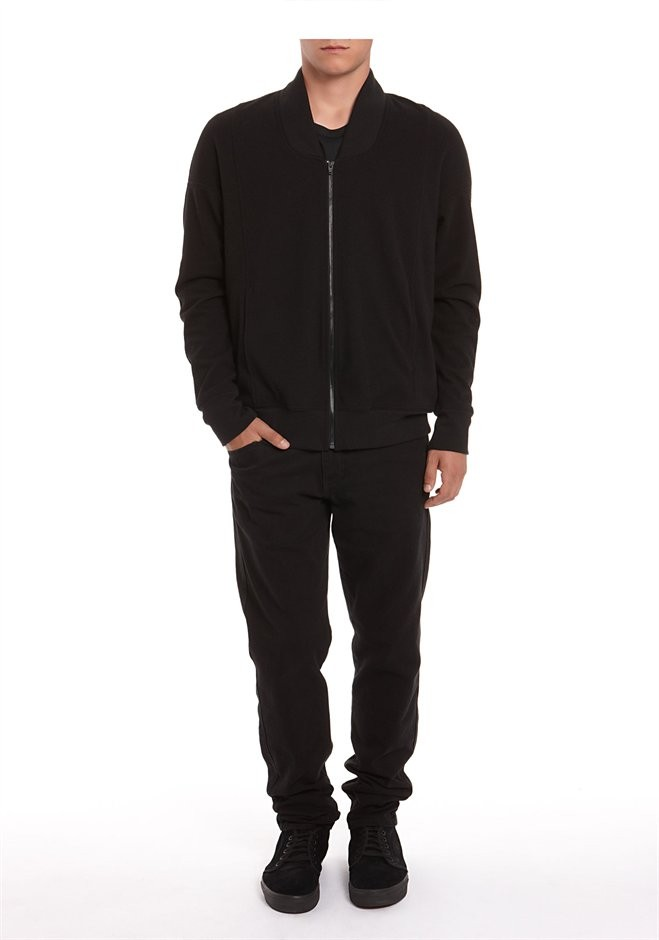 Black Brushed Ponte Zip Up Jacket - Alexander Wang