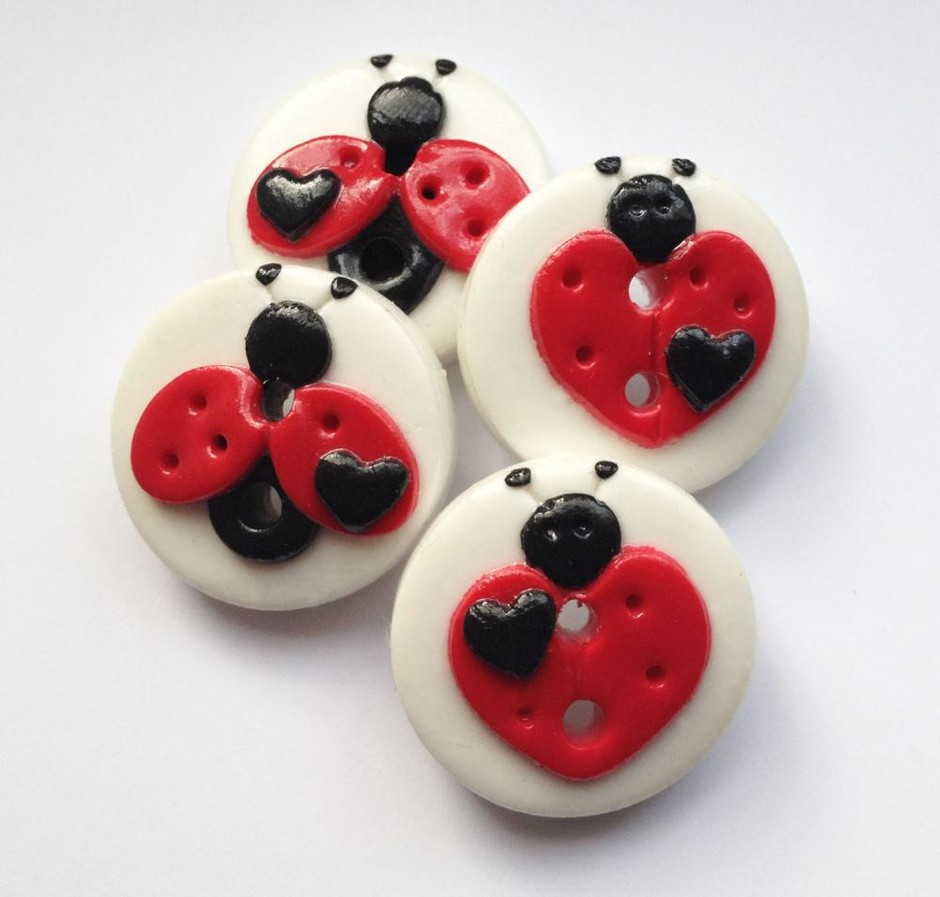 Love Ladybugs - Set Of 4 Polymer Clay Buttons | Luulla