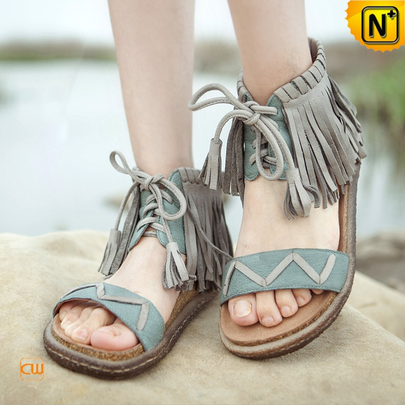 Leather Flat Sandals with Fringe CW305228
