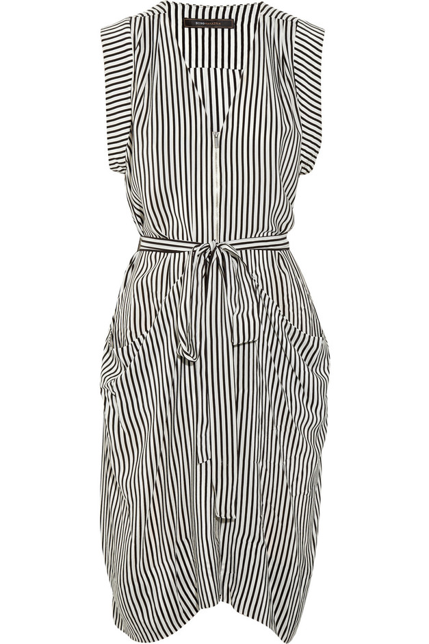BCBGMAXAZRIA Draped striped silk dress - 80% Off Now at THE OUTNET
