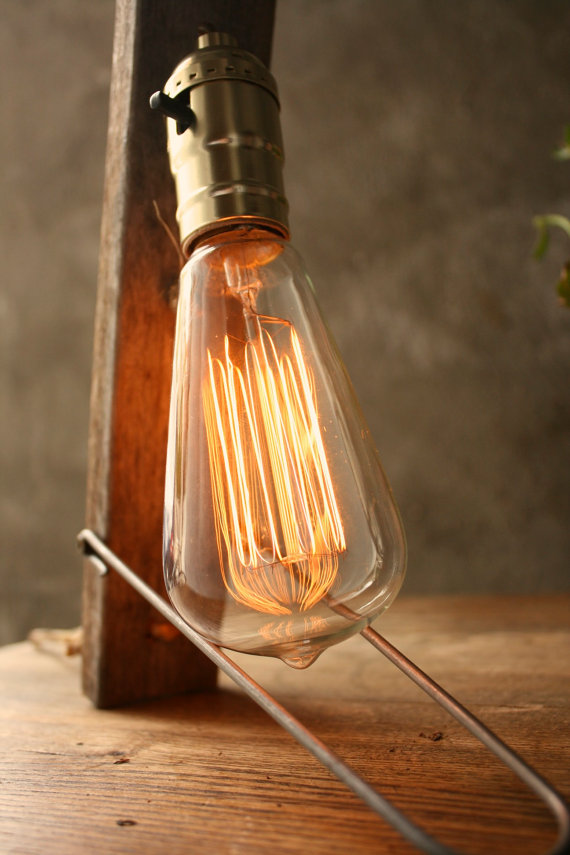 Industrial Light Wood Lamp Cool Gifts for Men by LukeLampCo