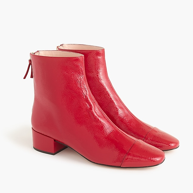 Cap-toe ankle boots in patent leather : Women boots | J.Crew