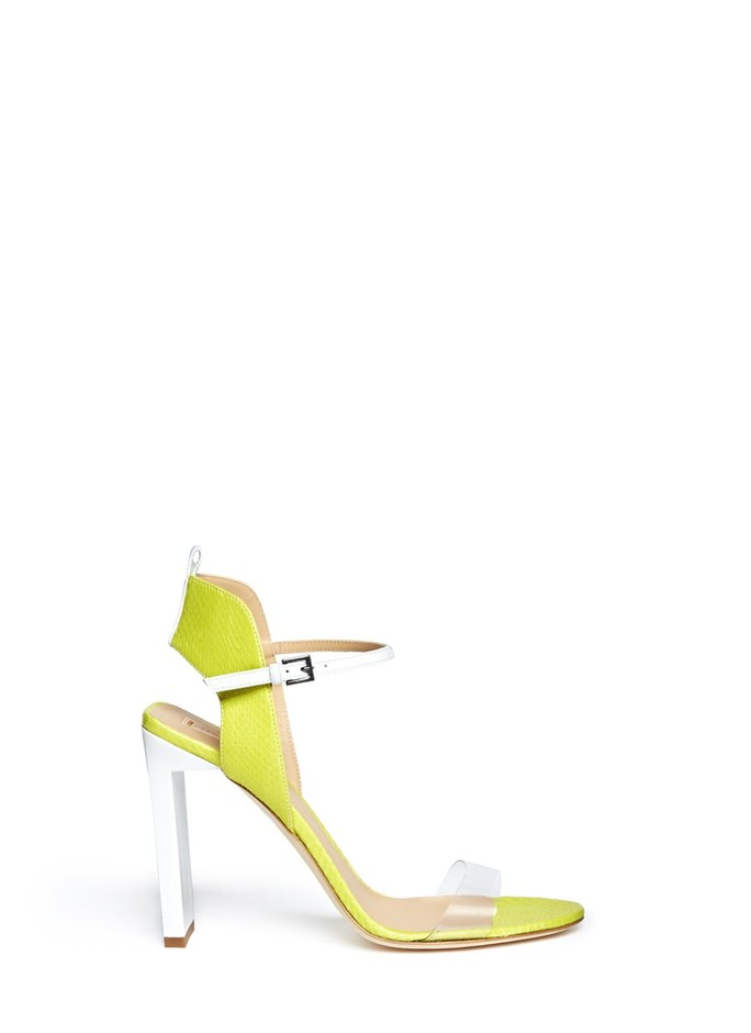 REED KRAKOFF - Atlas PVC band snake embossed leather sandals | Yellow and Orange Sandals High Heels | Womenswear | Lane Crawford