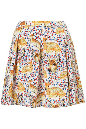 Deer Print Invert Pleat Skirt - New In This Week - New In - Topshop