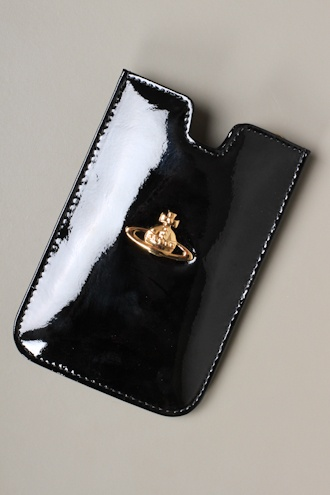VIVIENNE WESTWOOD 5724VV147 iPhone Patent Strap Holdall in Black - WALLETS from Autograph UK