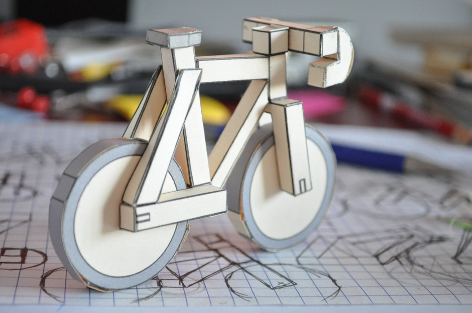 paperbikes v2 fixed gear paper bike papercraft by Paperbikes