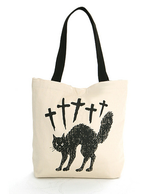 Candy Stripper ONLINE SHOP | CROSS CAT TOTE BAG | NATURAL