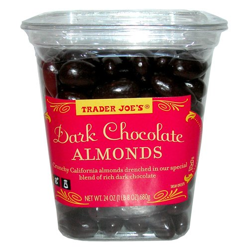 Trader Joe's Dark Chocolate Almonds Crunchy California Almonds Drenched in Rich Dark Chocolate No Gluten Ingedients Used Low Sodium: Amazon.com: Grocery & Gourmet Food