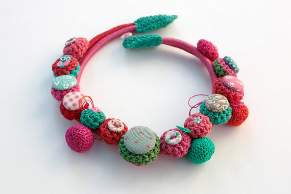 Handmade crochet textile necklace by rRradionica on Etsy