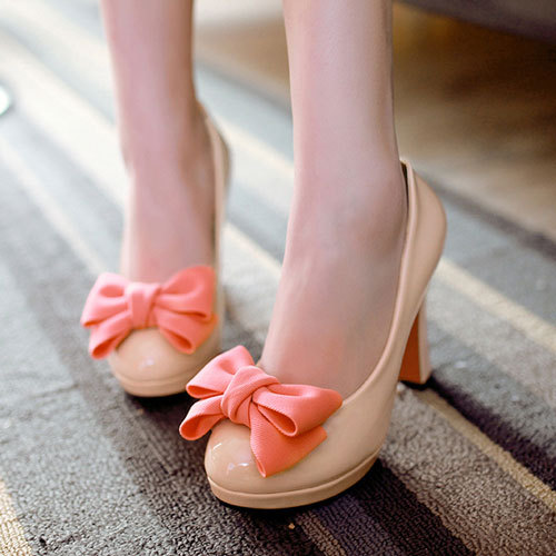 [grxjy5190339]Sweet Contrast Candy Color Bowknot Block High Heel Shoes Pumps / pgfancy- fashion online shopping mall
