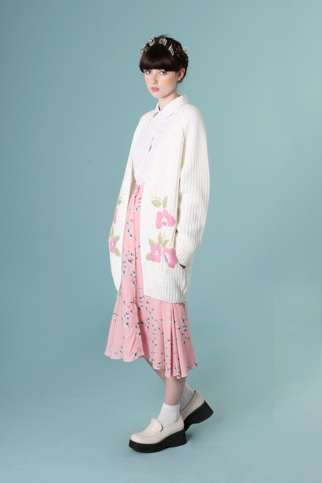 Embroidery Detail Cardigan Ivory - THE WHITEPEPPER