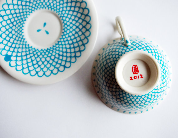 Etsy Transaction - Blue Scales teacup and saucer Hand-Painted red and white set
