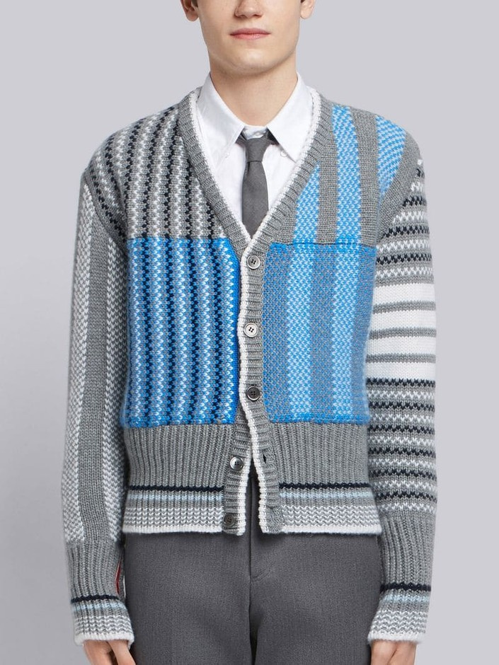 4-Bar Fun-Mix Check Intarsia Cardigan|Thom Browne