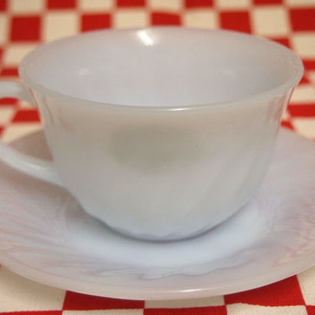 Fire King Azurite Swirl Cup & Saucer #60 | Jadeite Magic Gallery