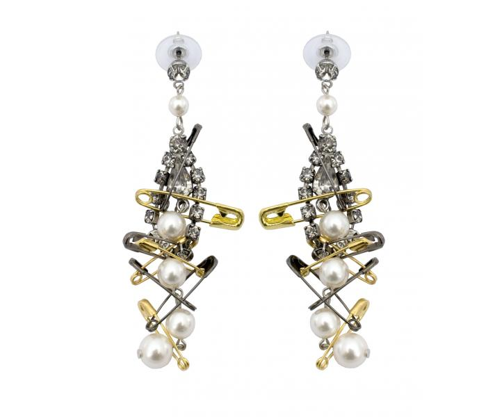 WHITE CRYSTAL AND PEARL EARRINGS WITH TWO TONE SAFETY PINS - Tom Binns