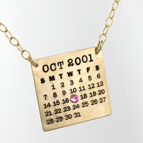 Personalized Calendar Necklace Gold Filled Mark Your by PunkyJane