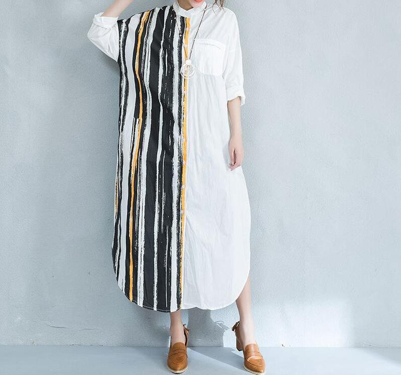Maxi dress cottonmaxi dress with sleeves women dress white | Etsy