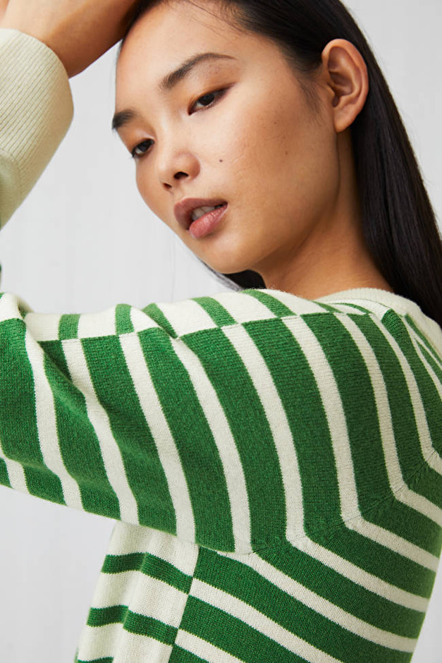 Striped Merino Jumper - Green - Knitwear - ARKET GB