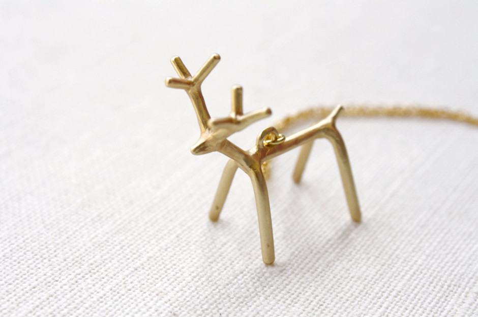 My Deer Friend Modern Gold Deer Necklace by apocketofwhimsy